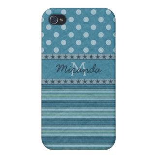 Lunares femeninos y rayas del monograma en azul iPhone 4/4S carcasa