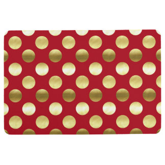 Lunares festivos de la hoja de oro rojos alfombra