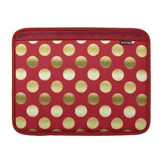 Lunares festivos de la hoja de oro rojos funda para MacBook air