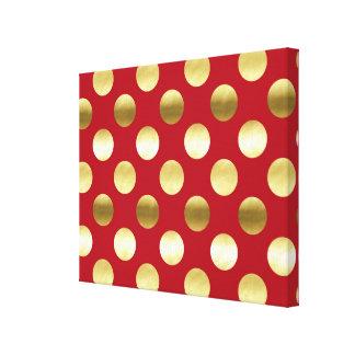 Lunares festivos de la hoja de oro rojos impresión en lienzo