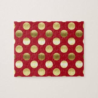 Lunares festivos de la hoja de oro rojos puzzle