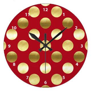 Lunares festivos de la hoja de oro rojos reloj redondo grande