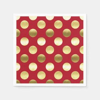 Lunares festivos de la hoja de oro rojos servilleta desechable
