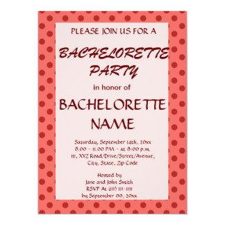 Lunares Fiesta-Rojos de Bachelorette, fondo rosado Invitación 13,9 X 19,0 Cm