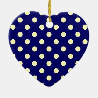 Lunares grandes - amarillo eléctrico en azul adorno de cerámica en forma de corazón