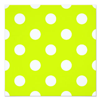 Lunares grandes - blanco en amarillo fluorescente invitación 13,3 cm x 13,3cm