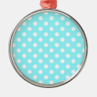 Lunares grandes - blanco en azul eléctrico adorno redondo plateado