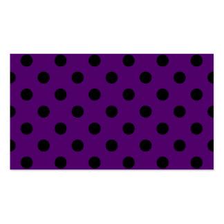 Lunares grandes - negro en violeta oscura tarjetas de visita