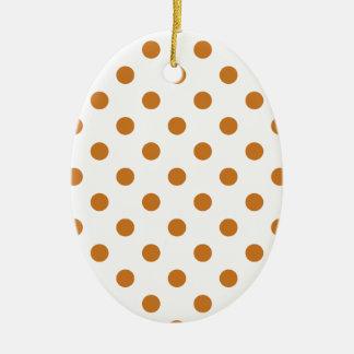 Lunares grandes - ocre en blanco adorno ovalado de cerámica