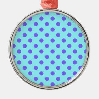 Lunares grandes - violeta en azul eléctrico adorno redondo plateado