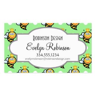Lunares lindos de la abeja reina, verdes claros y  plantilla de tarjeta personal