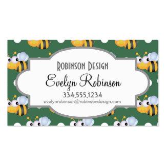 Lunares lindos de la abeja, verdes y blancos tarjeta de visita