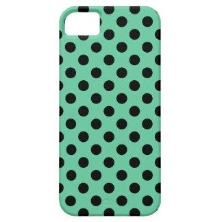Lunares negros en verde menta funda para iPhone SE/5/5s