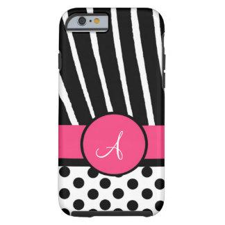 Lunares negros y blancos con la cebra y el rosa funda para iPhone 6 tough