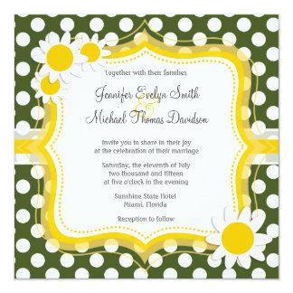 Lunares oscuros del verde de musgo; Margarita Invitación 13,3 Cm X 13,3cm