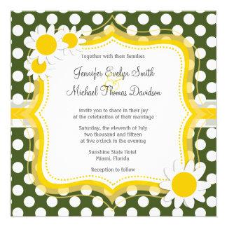Lunares oscuros del verde de musgo; Margarita Invitaciones Personales