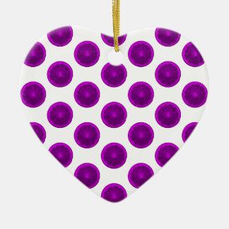 Lunares púrpuras de la rebanada de la fruta adorno de cerámica en forma de corazón