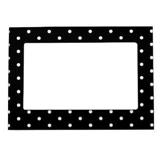 Lunares retros blancos y negros elegantes foto de imanes