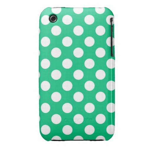 Lunares retros verdes iPhone 3 Case-Mate cárcasa