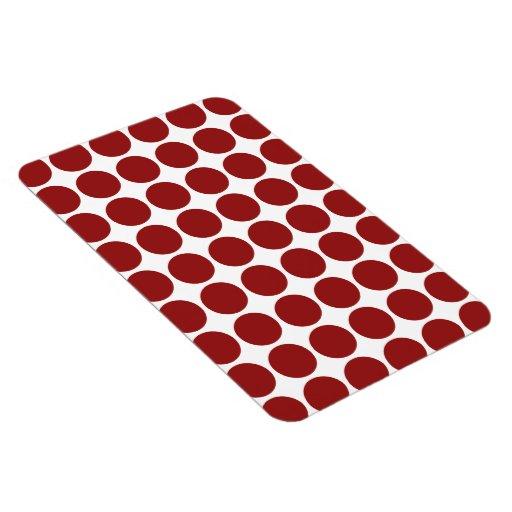 Lunares rojos en blanco imanes