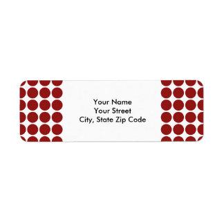 Lunares rojos en la etiqueta blanca del remite etiqueta de remite