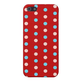 Lunares rojos y azules intrépidos y brillantes iPhone 5 protector