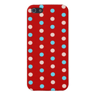 Lunares rojos y azules intrépidos y brillantes iPhone 5 cárcasas