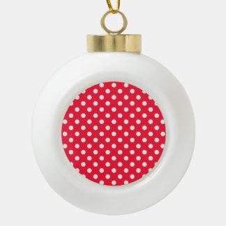 Lunares rojos y blancos adorno de cerámica en forma de bola
