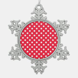 Lunares rojos y blancos adorno de peltre en forma de copo de nieve