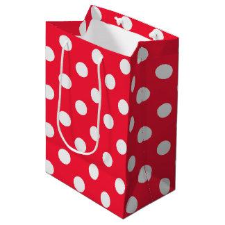 Lunares rojos y blancos bolsa de regalo mediana