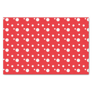 Lunares rojos y blancos papel de seda pequeño