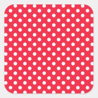 Lunares rojos y blancos pegatina cuadrada