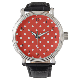 Lunares rojos y blancos reloj