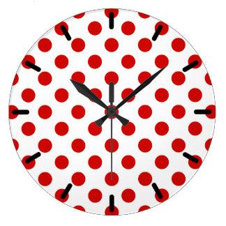 Lunares rojos y blancos reloj redondo grande