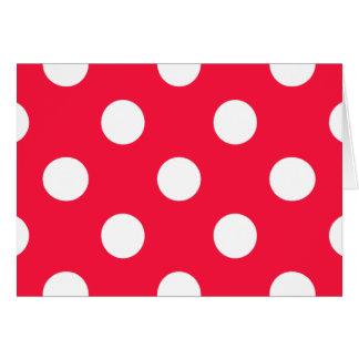 Lunares rojos y blancos tarjeta