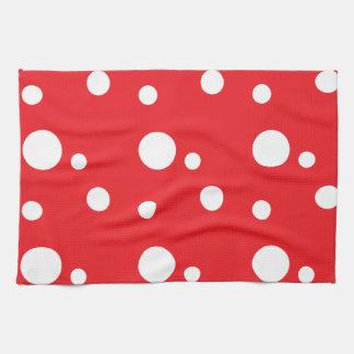 Lunares rojos y blancos toallas