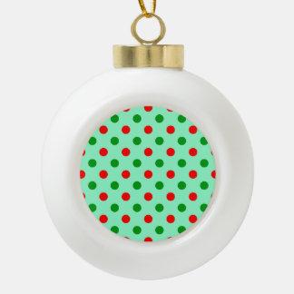 Lunares rojos y verdes adorno de cerámica en forma de bola
