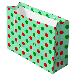 Lunares rojos y verdes bolsa de regalo grande
