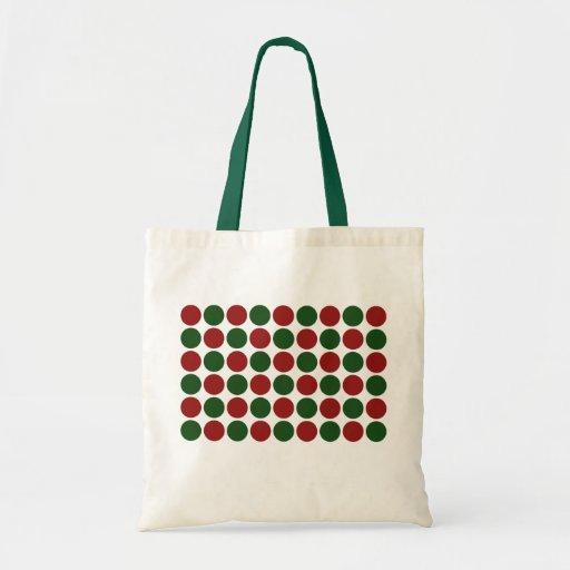 Lunares rojos y verdes en blanco bolsa