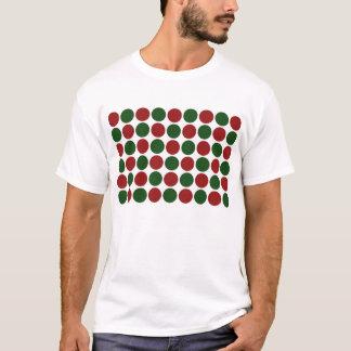 Lunares rojos y verdes en blanco camiseta