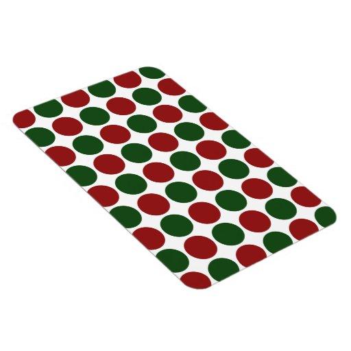 Lunares rojos y verdes en blanco iman de vinilo