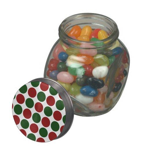 Lunares rojos y verdes en blanco frascos de cristal jelly belly