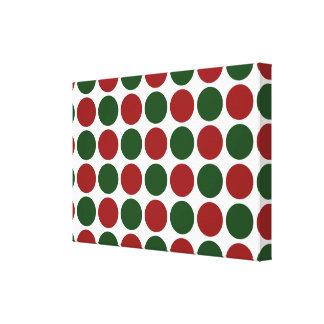 Lunares rojos y verdes en blanco impresión en lona estirada