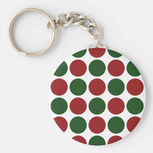Lunares rojos y verdes en blanco llaveros personalizados