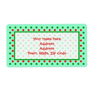 Lunares rojos y verdes etiqueta de envío