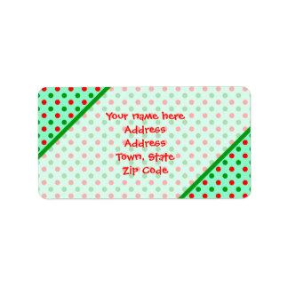 Lunares rojos y verdes etiquetas de dirección