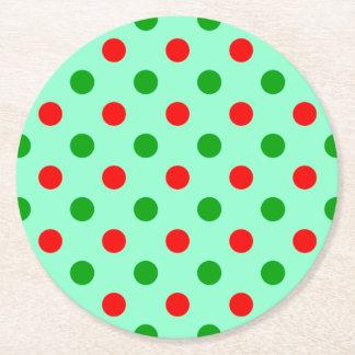Lunares rojos y verdes posavasos personalizable redondo
