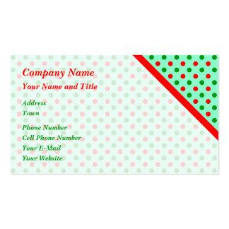 Lunares rojos y verdes tarjetas de visita