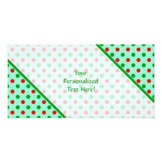 Lunares rojos y verdes tarjetas fotográficas