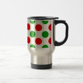 Lunares rojos y verdes taza de café